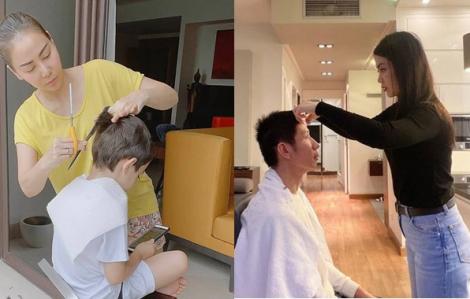 Mỹ nhân Việt thành thợ cắt tóc khi ở nhà cách ly