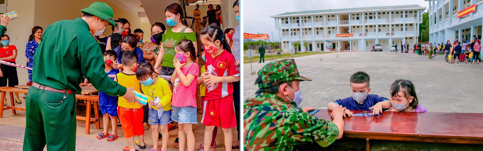 Những đứa trẻ nức nở khi lưu luyến chia tay bộ đội khu cách ly