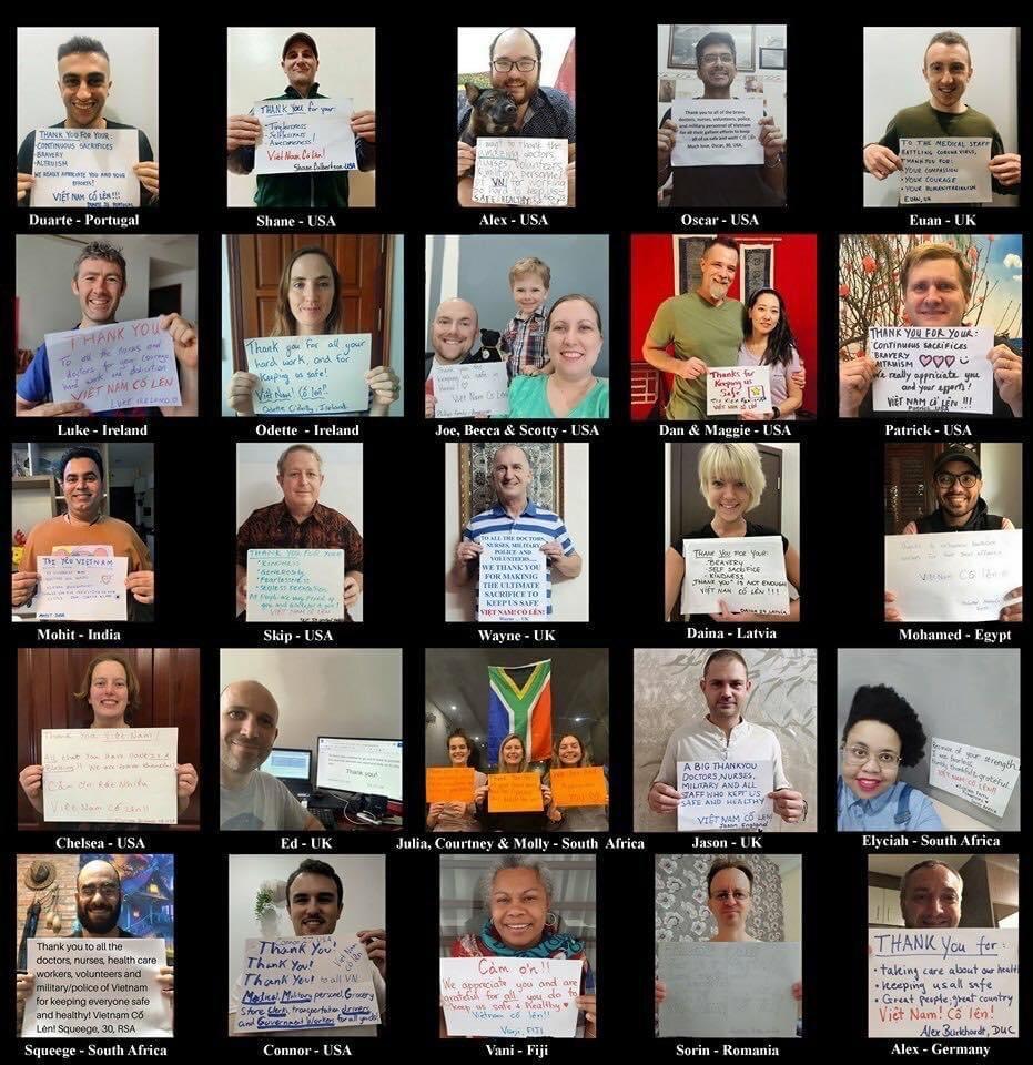 30 người với các quốc tịch Anh, Đức, Mỹ, Ai Cập, Nam Phi... đang sinh sống tại Việt Nam hưởng ứng dự án do Wayne Worrell (quốc tịch Anh) khởi xướng, chụp ảnh cảm ơn và cổ vũ Việt Nam chống dịch