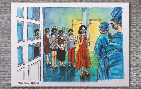 """""""Người vẽ tranh ký họa trong khu cách ly"""" - Nguyễn Tăng Quang"""