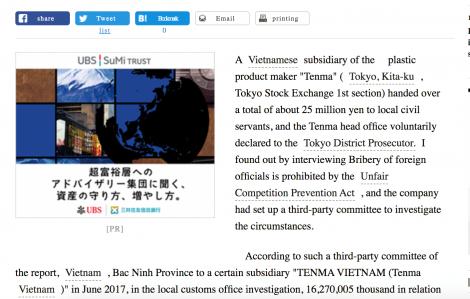 Cục Hải quan Bắc Ninh nói gì về nghi vấn Tenma Việt Nam hối lộ 5,4 tỷ đồng để trốn thuế?