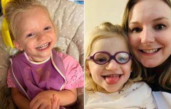 Bé gái 3 tuổi vật lộn từng ngày với chứng không thể ngừng cười