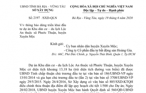 ''Ngâm'' dự án làm khổ dân, dự án khu dân cư – du lịch Lộc An bị yêu cầu dừng thực hiện để xem xét thu hồi