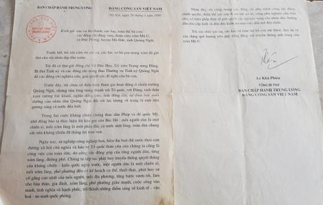 Những lá thư Bác Lê Khả Phiêu gửi bà con xóm Mù U