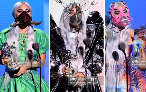 Lady Gaga quái dị hết cỡ với loạt khẩu trang độc đáo khi nhận giải MTV
