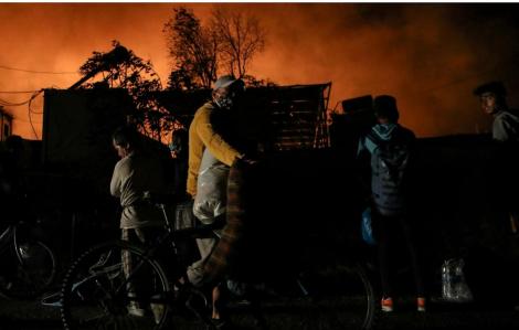 Lửa bùng phát tại trại tị nạn Moria đông đúc của Hy Lạp