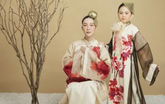 Áo dài thăng hoa trên nền lụa tơ sen