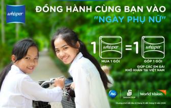 """Whisper triển khai chương trình """"Mua 1 gói - Góp 1 gói"""" giúp các em gái khó khăn tại Việt Nam"""