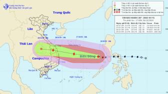 Chiều 27/10, bão số 9 (Molave) chỉ còn cách Phú Yên 400km, gió giật cấp 16