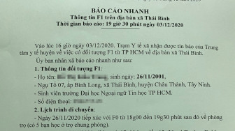 Tây Ninh có ca F1 của bệnh nhân 1.347