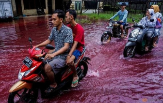 Lũ lụt khiến ngôi làng ở Indonesia hóa màu đỏ thẫm như máu