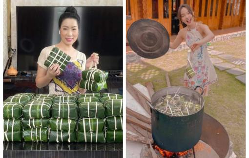 Nghệ sĩ Việt rộn ràng gói bánh chưng những ngày giáp Tết