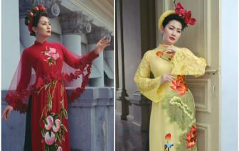 Ngọc Lan nền nã với áo dài thêu tay bằng chỉ tơ Pháp