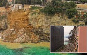 Hàng trăm quan tài rơi xuống biển khi nghĩa trang trên đỉnh vách đá sụp đổ