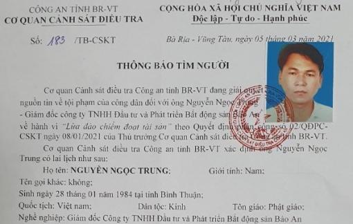 Bà Rịa – Vũng Tàu truy tìm một giám đốc công ty bất động sản bị tố lừa đảo