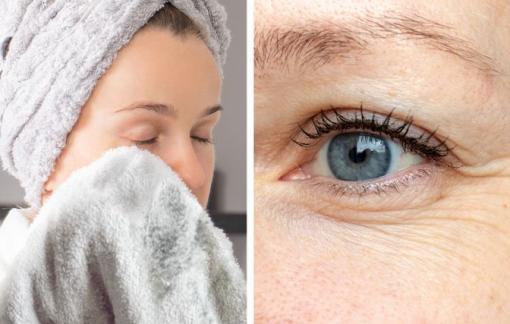 Dùng khăn lau khô mặt dễ bị mụn và nếp nhăn