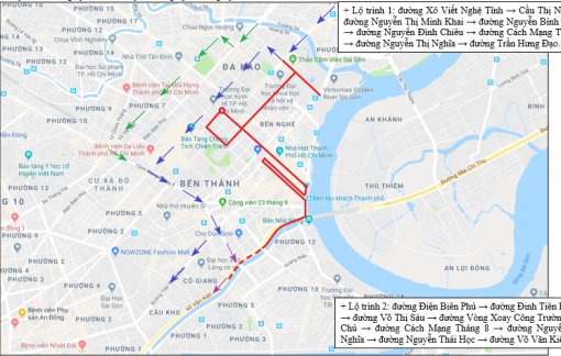 Cấm xe trên nhiều tuyến đường trung tâm TPHCM trong hai ngày cuối tuần
