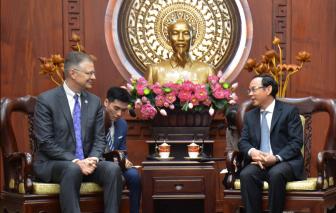 Bí thư Thành ủy TPHCM Nguyễn Văn Nên tiếp Đại sứ Hoa Kỳ tại Việt Nam chào từ biệt