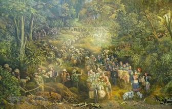 Bức tranh diện tích hơn 3.000 mét vuông kỷ niệm chiến thắng Điện Biên Phủ