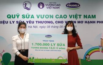 Vinamilk và Quỹ sữa Vươn cao Việt Năm 2021 trao tặng 1,7 triệu ly sữa hỗ trợ trẻ em khó khăn giữa dịch COVID-19