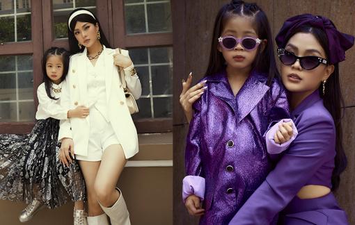 Á hậu Diễm Trang và con gái làm điệu xuống phố