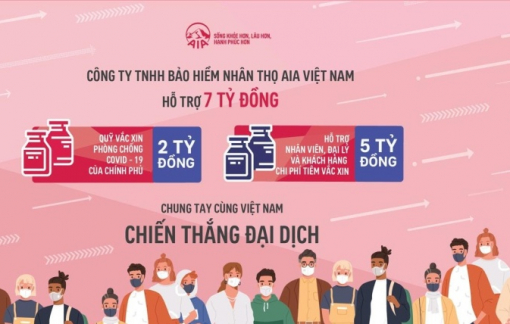 AIA Việt Nam đóng góp 7 tỷ đồng mua vắc-xin phòng COVID-19