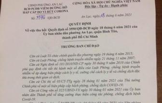 UBND phường An Lạc, quận Bình Tân trở lại hoạt động