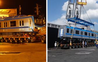 Toàn cảnh vận chuyển đoàn tàu thứ 4 tuyến Metro số 1 về depot Long Bình