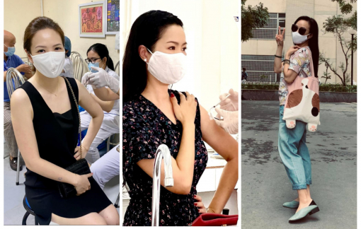 Nghệ sĩ Việt diện đồ giản dị đi tiêm chủng