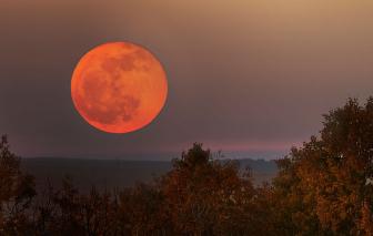 """Cháy rừng """"nhuộm"""" trăng nước Mỹ thành màu cam"""