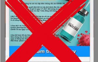 Giả mạo website của Bộ Y tế để xin trợ cấp tiêm chủng vắc xin COVID-19