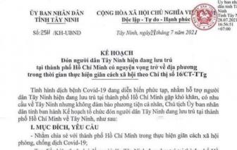 Tây Ninh: Triển khai kế hoạch đón người ở TPHCM về quê