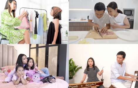 Clip: Hồ Hoài Anh, Lưu Hương Giang dạy con gái làm điệu và vào bếp