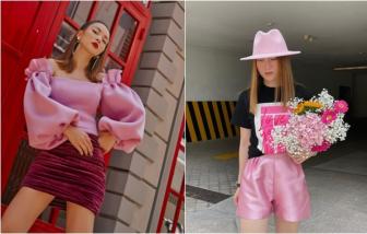 Tủ đồ màu hồng điệu đà giá rẻ của chị em Yến Trang, Yến Nhi
