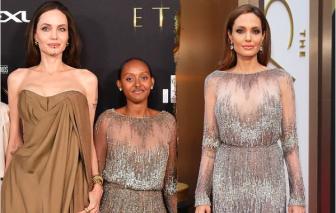 Con gái Angelina Jolie mặc lại váy cũ nhiều năm trước của mẹ