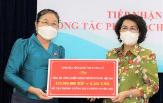 TPHCM tiếp nhận kinh phí ủng hộ phòng, chống dịch từ tỉnh Attapeu (Lào)